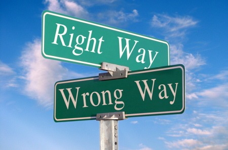 Right way wrong way signs